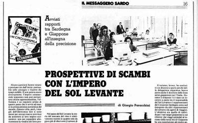 Il Messaggero Sardo: Prospettiva di scambi con l'impero del Sol Levante