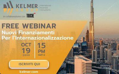"""Webinar """"Nuovi finanziamenti per l'internazionalizzazione"""" in collaborazione con Kelmer Group"""